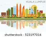 kuala lumpur skyline with color ... | Shutterstock .eps vector #523197016