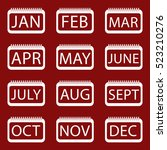 vector set icon of month on red ... | Shutterstock .eps vector #523210276