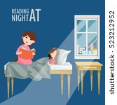 mom reads a story to his... | Shutterstock .eps vector #523212952