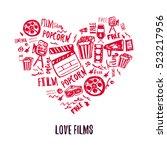 cinema love banner with doodle...   Shutterstock .eps vector #523217956