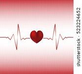 electrocardiogram vector... | Shutterstock .eps vector #523224652