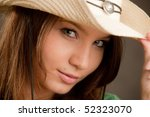 girl in hat face portrait close-up - stock photo