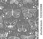 seamless pattern with butterfly.... | Shutterstock .eps vector #523233088