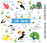 Cute Birds Cartoon On White...