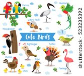 cute birds cartoon on white... | Shutterstock .eps vector #523235392