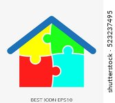 house  puzzle  vector icon ... | Shutterstock .eps vector #523237495