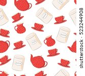 seamless vector pattern. red... | Shutterstock .eps vector #523244908