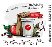take away merry christmas coffee | Shutterstock .eps vector #523248316