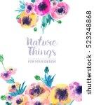 beautiful floral set flowers... | Shutterstock . vector #523248868