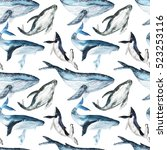 watercolor whales seamless... | Shutterstock . vector #523253116