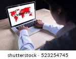 Small photo of Debenture writing on laptop with world map background with businessman hand working
