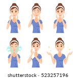 attractive pretty young woman... | Shutterstock .eps vector #523257196
