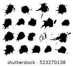 set of black paint  ink  grunge ...