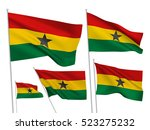 ghana vector flags set. 5 wavy... | Shutterstock .eps vector #523275232