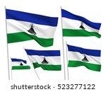 lesotho vector flags set. 5... | Shutterstock .eps vector #523277122