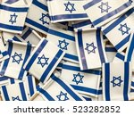Small photo of A lot of flags of Israel background wallpaper