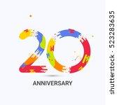20 years anniversary  splash... | Shutterstock .eps vector #523283635