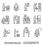 buying goods icons set. buyer ... | Shutterstock .eps vector #523289875