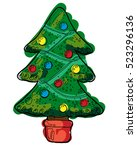 colorful hand drawn christmas... | Shutterstock .eps vector #523296136