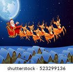 santa claus riding his reindeer ... | Shutterstock . vector #523299136