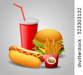 fast food cartoon collection.... | Shutterstock .eps vector #523303132