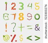 fruit font digits symbols... | Shutterstock . vector #523303276