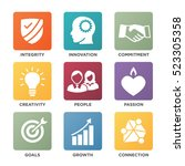 company core values solid icons ... | Shutterstock .eps vector #523305358
