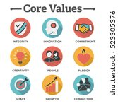 company core values solid icons ... | Shutterstock .eps vector #523305376