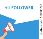 1 follower announcement. hand... | Shutterstock .eps vector #523308742