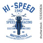 motorcycle racing typography  t ... | Shutterstock .eps vector #523320826
