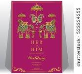 indian wedding card  elephant... | Shutterstock .eps vector #523324255