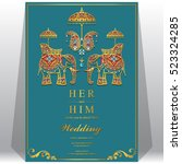 indian wedding card  elephant... | Shutterstock .eps vector #523324285