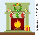christmas fireplace. xmas and... | Shutterstock .eps vector #523330228
