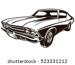 retro muscle car vector... | Shutterstock .eps vector #523331212