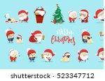 santa claus funny christmas... | Shutterstock .eps vector #523347712