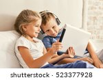 cute brother and sister... | Shutterstock . vector #523377928