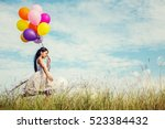 cute little girl holding... | Shutterstock . vector #523384432