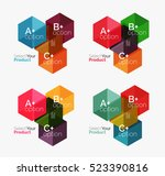set of business hexagon layouts ... | Shutterstock .eps vector #523390816