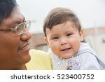 biracial family   father and... | Shutterstock . vector #523400752
