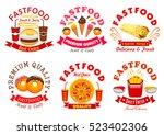 fast food symbol set. burger ... | Shutterstock .eps vector #523402306