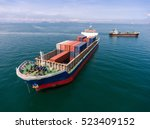 container ship in export and... | Shutterstock . vector #523409152