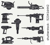 silhouette vector icon set with ... | Shutterstock .eps vector #523416442