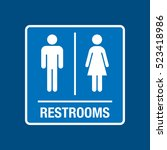 a vector washroom sign on a...   Shutterstock .eps vector #523418986