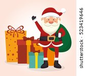 happy merry christmas santa... | Shutterstock .eps vector #523419646
