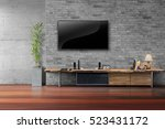 living room led tv on brick... | Shutterstock . vector #523431172