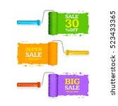 sale labels roller brush set... | Shutterstock .eps vector #523433365