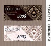 gift voucher in luxury style.... | Shutterstock .eps vector #523434532