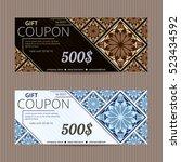 gift voucher in spanish style.... | Shutterstock .eps vector #523434592