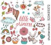 baby theme. hand drawn vector... | Shutterstock .eps vector #523435372
