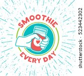 retro vintage logo for smoothie ... | Shutterstock .eps vector #523442302